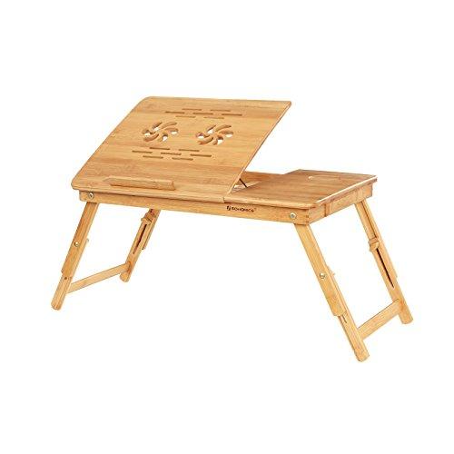 SONGMICS Laptopständer aus Bambus,...