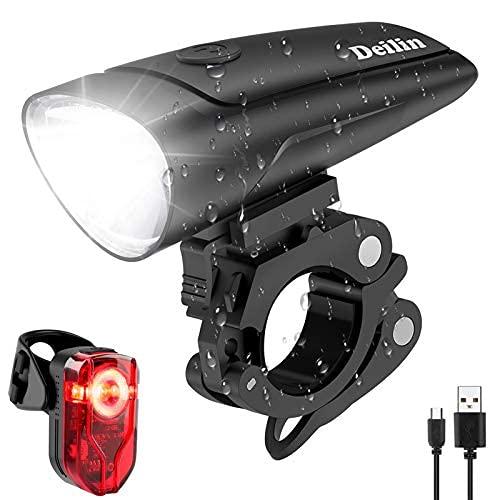 Deilin LED Fahrradlicht Set, 2 Licht-Modi...