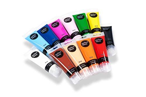 perfect ideaz 12 x 75 ml Acryl-Farbe-Set bunt, 12...