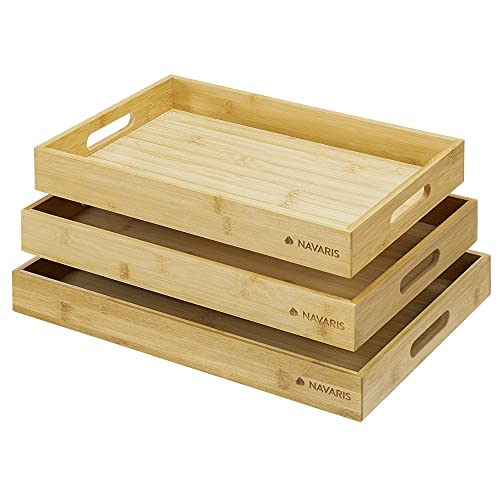 Navaris Serviertablett Tablett aus Bambus - 3x...