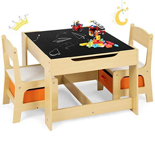 GOPLUS 3tlg. Kindersitzgruppe, 1 Kindertisch mit 2...