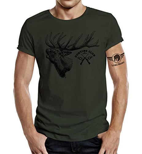 Jäger T-Shirt: Hunting Club Hirsch Oliv