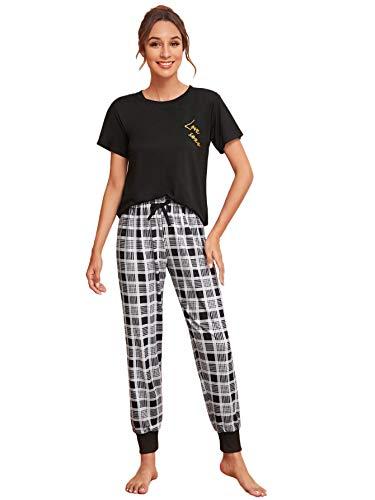 DIDK Damen Schlafanzug Set Pyjama Set Kurzarm...