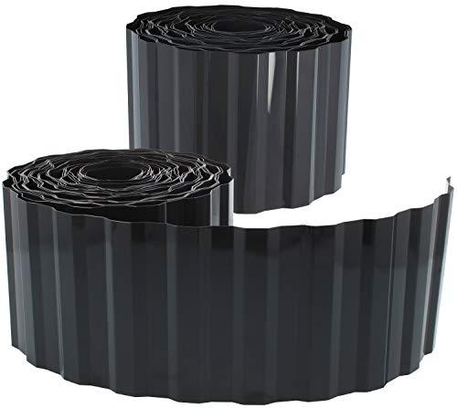 com-four® 2X Rasenkante aus Kunststoff -...