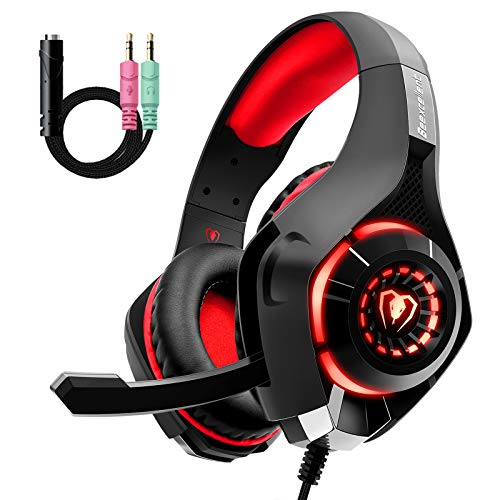 Gaming Headset für PS4 PS5 PC Xbox One, LED Licht...