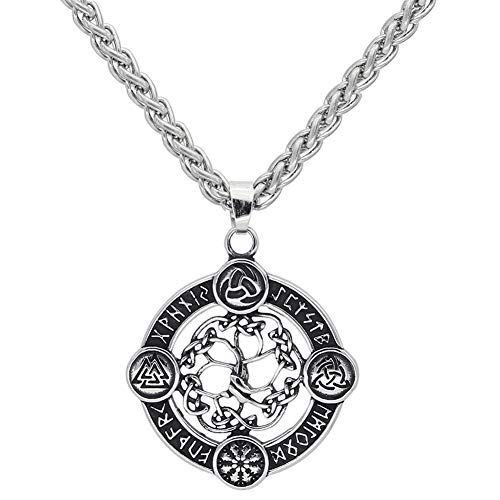 NICEWL Viking Compass Yggdrasil Rune Circle...