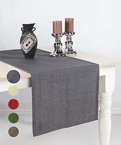 pamuq® Tischläufer Leinen-Optik | 48x160 cm |...