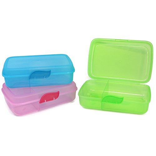 com-four® 3x Brotdose für unterwegs - Lunch-Box...