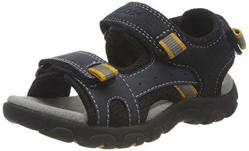 Geox JR Strada C Sandals, Navy/DK Yellow, 37 EU