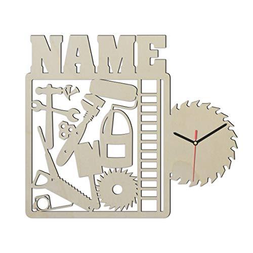 Heimwerker Handwerker Wand Uhr mit Namen lustige...
