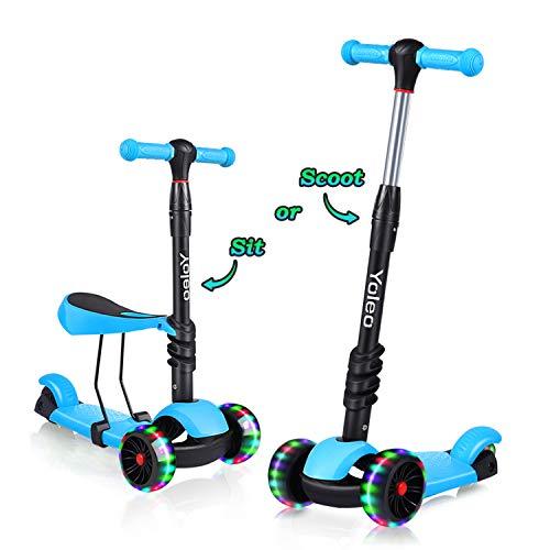 YOLEO 3-in-1 Kinder Roller Scooter mit Abnehmbarem...
