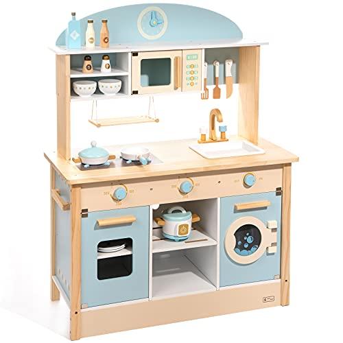 ROBUD Spielküche Holz Küchenzeile Zubehör Grün...