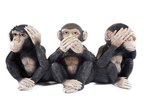 3 Affen nichts hören sehen sagen 23cm Afrika Affe...