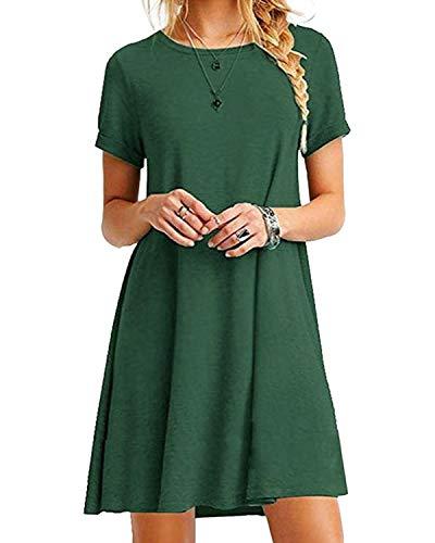 YOINS Damen Kleider Tunika Tshirt Kleid Kurzarm...