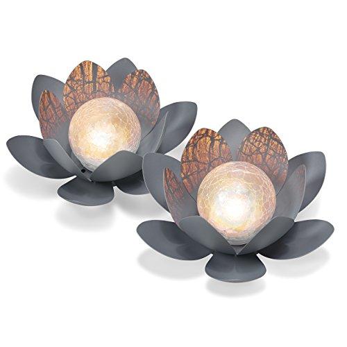 Dekoratives Solar Lotusblüten 2er Set aus Metall...