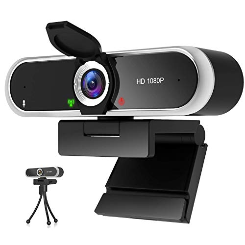 Webcam 1080P mit Mikrofon und Webcam Abdeckung,...