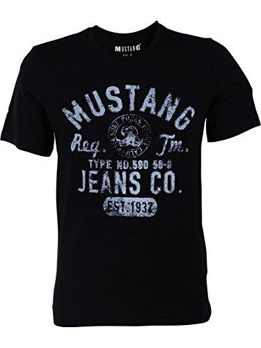 MUSTANG Herren T-Shirt Rundhals Kurzarm Logo Print...