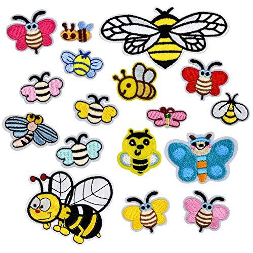 Aufnäher Bügelbilder 17 Stück Biene Flicken...