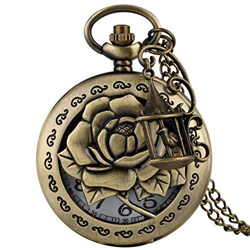 XVCHQIN Antike Bronze Quarz Taschenuhr Halskette...