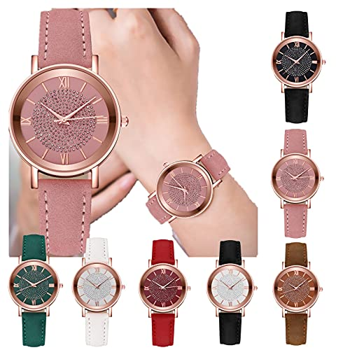 Damen Analog Quarz Armbanduhr mit Lederarmband,...