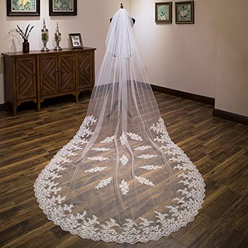Elfenbein Weiß 3,5 Meter Brautschleier mit Spitze...