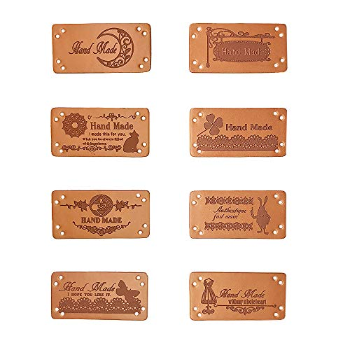Jurxy 40PCS PU-Leder Label Annähen Etiketten...