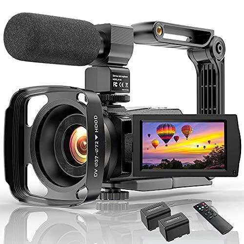 Videokamera Camcorder mit Mikrofon 48MP Vlogging...