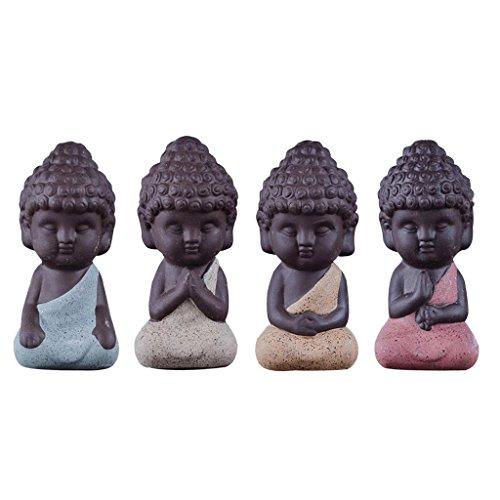 Gazechimp 4er-Set Mini Mönch Buddha Figuren...