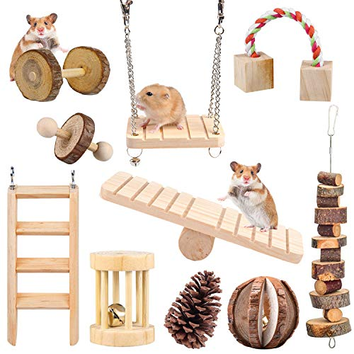 HORYDIA Hamster Spielzeug, Hamster Zubehör Holz...
