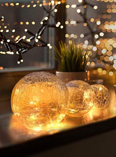 LED Glaskugel 3er Set - Exklusive Größe,...