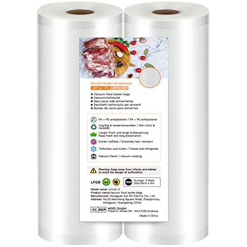 Vakuumierbeutel Lebensmittel 28x600cm(2 Rollen),...