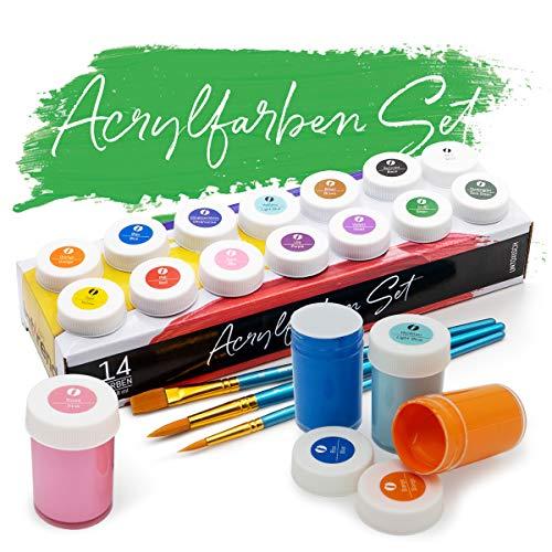 int!rend Acryl Farben Set, 14 wasserfeste...