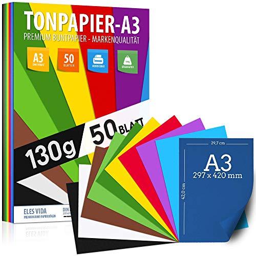 50 Blatt Tonzeichenpapier DIN A3 – 130 g - 10...