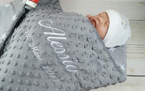 Babydecke mit Namen und Datum bestickt MINKY...