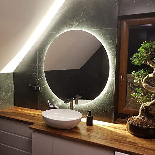 Artforma Rund Badspiegel mit LED Beleuchtung 80cm...