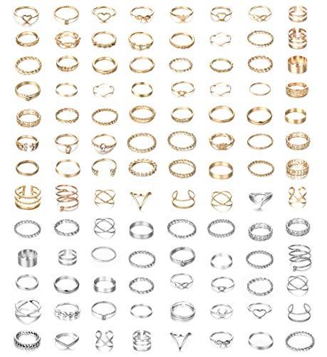 Milacolato 104Pcs Fingerringe Ringe Damen Set...