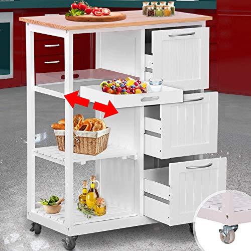 Küchenwagen mit Rollen - Arbeitsplatte und Rahmen...