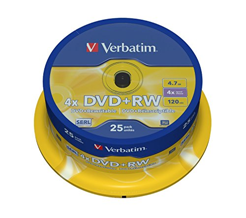 Verbatim DVD+RW 4x Matt Silver 4.7GB I 25er Pack...