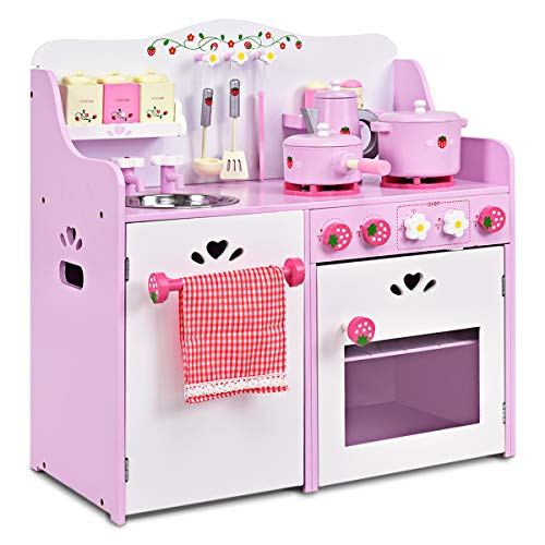 GOPLUS Kinderküche aus Holz, Spielküche mit...