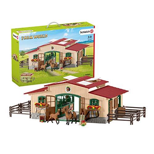 Schleich 42195 - Pferdestall mit Pferden und...