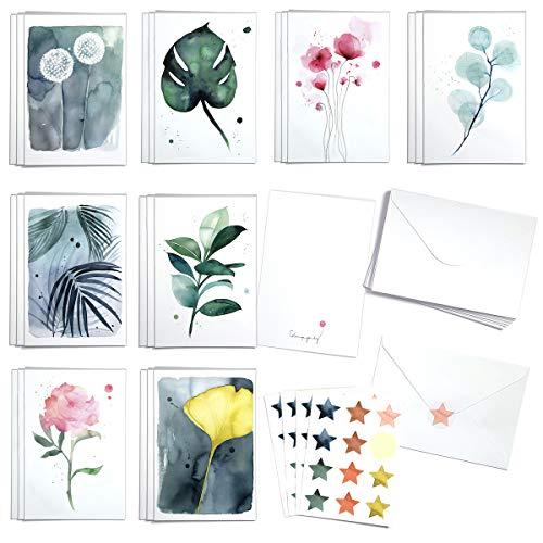 Blule Box mit 24 botanischen Gemälden Grußkarten...