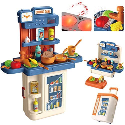 Kinderküche, 4 in 1 Trolley Koffer Spielküche...