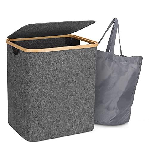 Wäschekorb mit Deckel, 60L Wäschesammler...