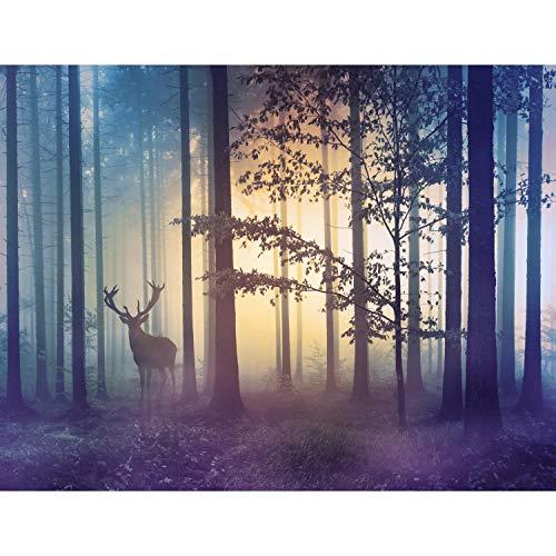 Fototapete Wald Hirsch Nebel 352 x 250 cm Vlies...