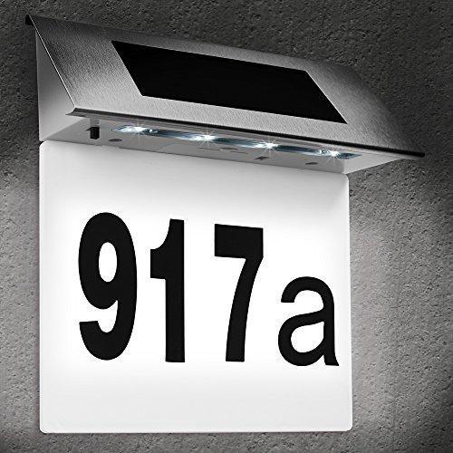 Deuba Hausnummer beleuchtet Solar Edelstahl LED...