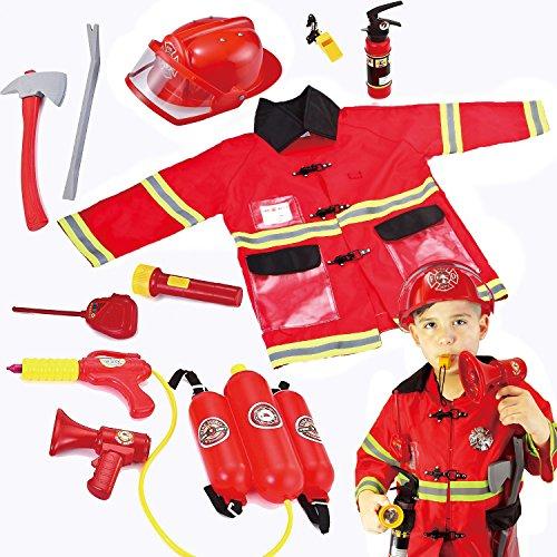 JOYIN 12-teiliges Kinder Feuerwehrmann Kostüm und...