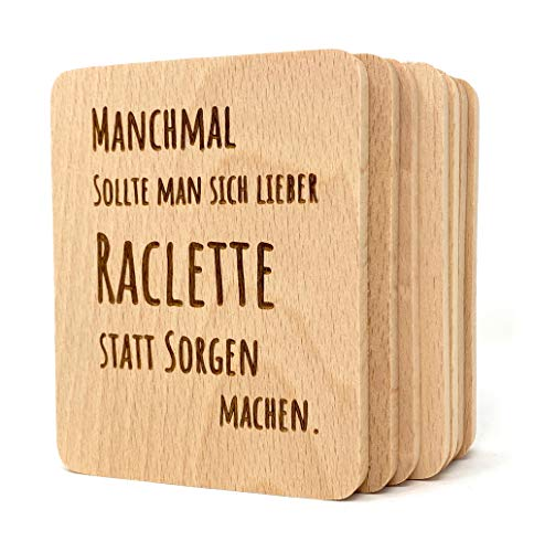 Laser Tattoo Raclette Untersetzer aus Holz -...