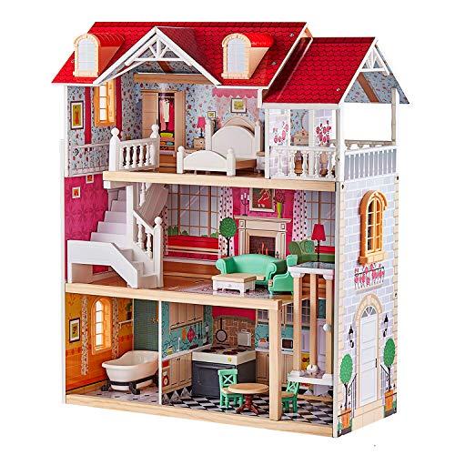TOP BRIGHT Puppenhaus aus Holz, Puppenhaus mit...