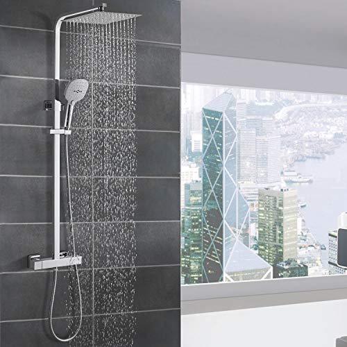 WOOHSE Duschsystem mit Thermostat Regendusche...