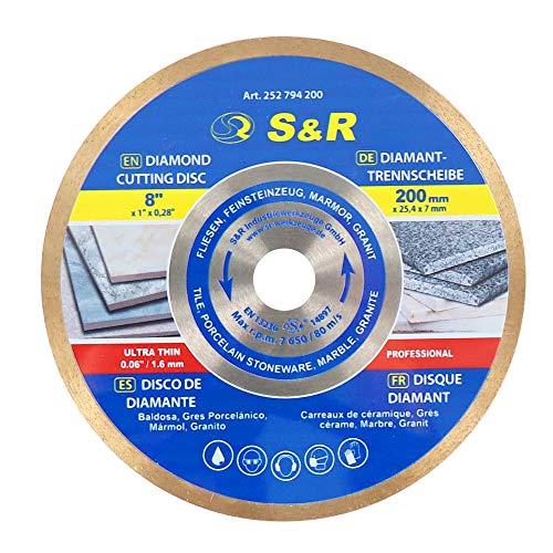 S&R Diamanttrennscheibe 200 x 25,4 x 7 mm (1,6 mm...